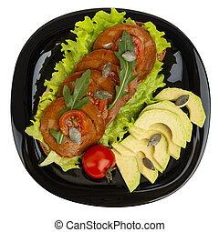 vegetariano, sano, piastra, cibo, nero