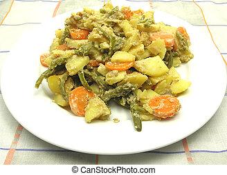 vegetariano, vegetal, casserole, ligado, um, prato branco, e, verificado, toalha de mesa