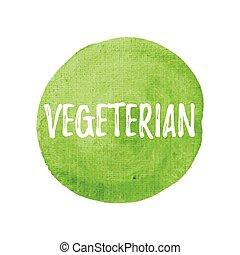 vegetariano, vettore, su, mano, disegnato, verde, acquarello, fondo, illustrazione
