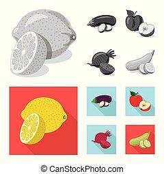 vegetariano, web., frutta, vettore, disegno, collezione, verdura, icon., simbolo, casato