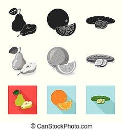 vegetariano, web., simbolo., frutta, vettore, disegno, collezione, verdura, simbolo, casato