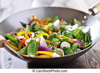 vegetariano, wok, tumulto frigge