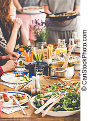 Vegetarians dinner meeting - Fresh salad, millet groats, ...