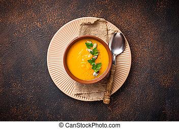 vegetarier, herbst, kã¼rbis, creme suppe