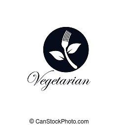 vegetarier, ikone, vektor, lebensmittel