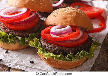 vegetarier, sandwiches:, burger, bohnen, close-up., horizontal, gemuese