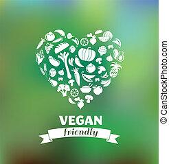 vegetarier, und, vegan, gesunde, organische , hintergrund