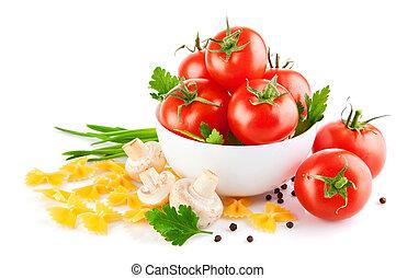 vegetarisk mad, hos, tomat, og, champignoner