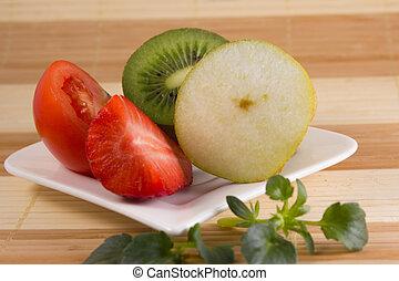 vegetarisk mat, på, a, vita tallrik
