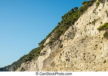 Vegetation on coast of Egremni beack in Lefkada Greece