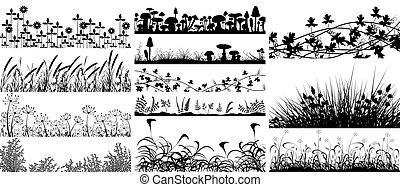 Set of foregrounds of vegetation and mushrooms