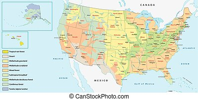 vegetations map of the united states of america
