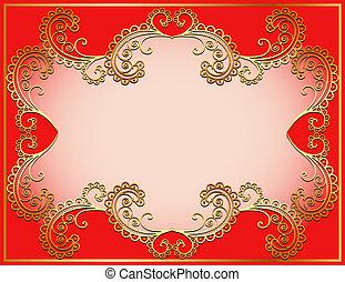 vegetative, 金, 背景, 古代, 装飾, 枠にはめられた