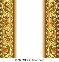 vegetative, faixa, ouro, fundo, ornamento