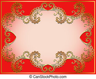 vegetative, goud, achtergrond, oud, ornament, ingelijst