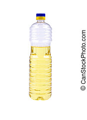 Vegetative oil in plastic bottle isolated on white background.