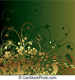 vegetative, ornament, goud