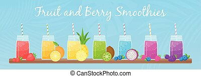Vegeterian smoothie shake cocktail collection