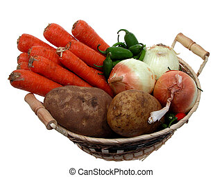 Veggie Basket - Fresh unwashed carrots, peppers, onions and ...