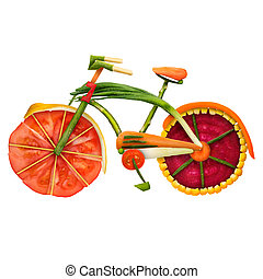 Veggie bike. - Healthy food concept of an urban fixed gear...