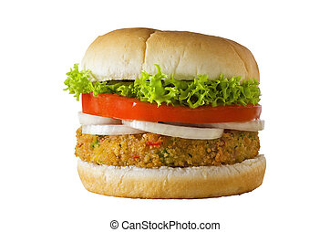 Veggie Burger Isolated - A cheese-free vegetarian burger...
