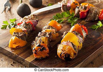 veggie, casalingo, cotto ferri, shish, bistecca, kebabs