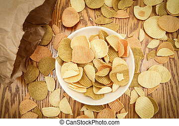 Veggie chips view from above - Closeup view from above of ...