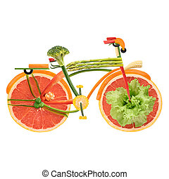 Veggie city bike. - Fruits and vegetables in the shape of an...