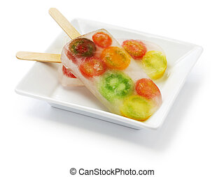 veggie ice pop, colorful tomatoes - veggie ice pop, colorful...