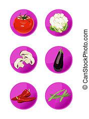 Veggie Icons - Veggie icons on white background