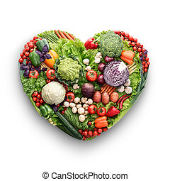 Veggie mix. - Healthy food concept of a human heart made of...