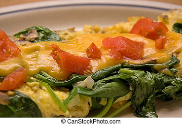 Veggie Omelet - This veggie omelet is made with spinach,...