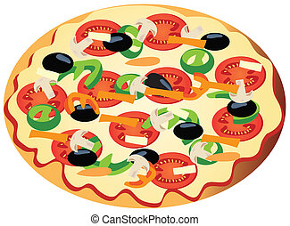 veggie pizza - vector vegetarian pizza
