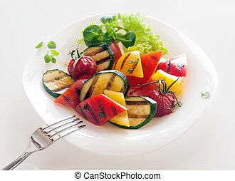 veggie, sano, vegetariano, cocina, de, asado, vegetales