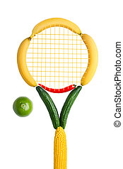 Veggie tennis federation. - A tennis racket made of fruits,...