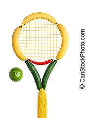 Veggie tennis federation. - A tennis racket made of fruits,...