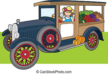 Veggie Truck - A young woman is driving a truck full of...