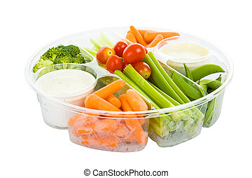 Veggies and Dip with Path - Isolated tray of raw vegetables...