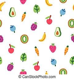 Veggies and fruits cartoon pattern - Veggies and fruits...