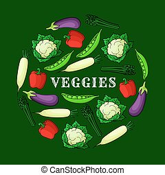 Veggies background with fresh vegetables icons