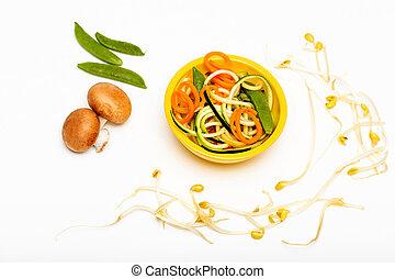veggies - flatlay of assorted vegetables on white