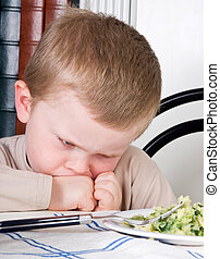 Veggies for dinner - Four year old boy disliking the food on...