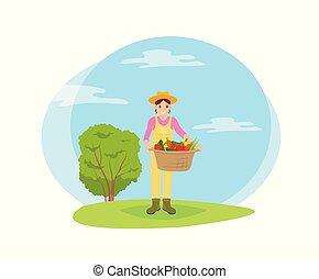 veggies, korb, karikatur, kleingarten, landwirt