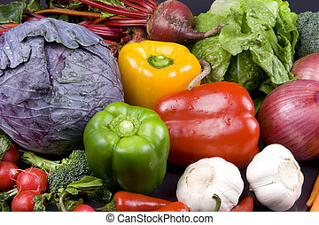 Veggies - Many assorted veggies on a black background