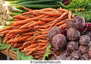 veggies, mercado, granjero