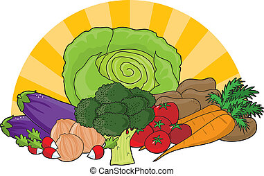 Veggies - An assortment of fresh vegetables with sun rays in...
