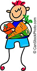 veggy kid - little boy holding a selection of vegetables -...