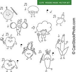 veggy with music instrument cartoon