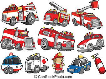 vehículo del rescate, transporte, conjunto