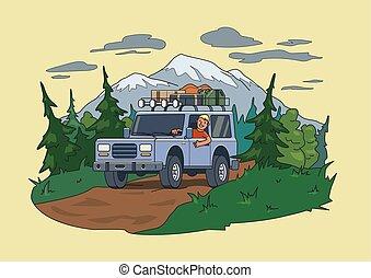 vehículo, horizontal., bosque, atrás, mudanza, sonriente, vector, tipo, techo, equipaje, plano, mountain., por, suv, illustration., coche, natural, off-road, rueda, environment.